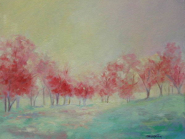 Impressionist Trees Art Print featuring the painting Treeline by Ginger Concepcion