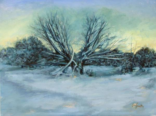 Landscape Art Print featuring the painting Trees and snow by Chris Neil Smith