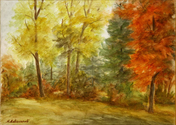 Landscape Art Print featuring the painting Trees at Fall by Artemis Melissarato