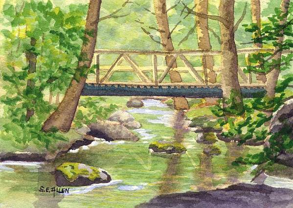 Stream Art Print featuring the painting Tuckers Brook by Sharon E Allen