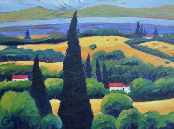 Tuscany Art Print featuring the painting Tuscan Pines and South Bay by Gary Coleman
