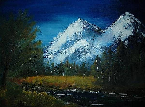 Mountain Art Print featuring the painting Twin Sister by Vi Mosley