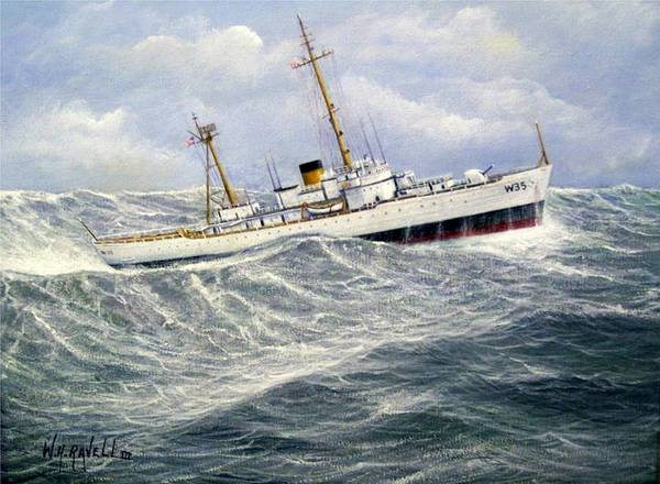 United States Coast Guard Cutter Ingham In Heavy Seas Art Print featuring the painting United StatesCoast Guard Cutter Ingham by William Ravell