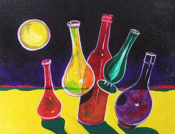 Space Art Print featuring the painting Vases In Space - Still Life 12 by Rollin Kocsis