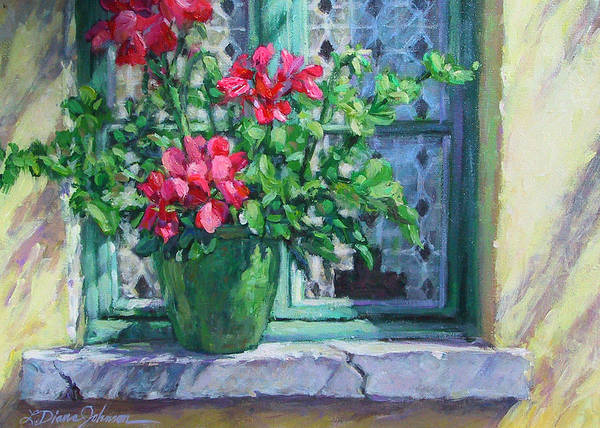 Red Geranium Art Print featuring the painting Village Welcome Giverny France by L Diane Johnson