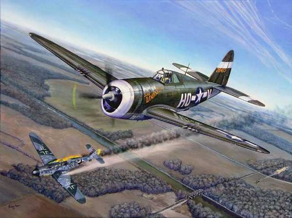 The 352nd Fighter Groups First Ace Shoots Down The German Ace Klaus Mietush On March 8th 1944 Art Print featuring the painting Virgil Meroney downs Klaus Mietush by Scott Robertson
