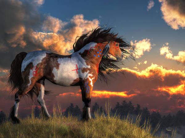 Warhorse Art Print featuring the digital art Warhorse by Daniel Eskridge