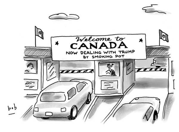 Welcome To Canada Art Print featuring the drawing Welcome To Canada by Bob Eckstein