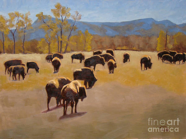 Buffalo Art Print featuring the painting Where the buffalo roam by Tate Hamilton