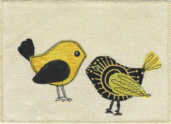 Whimsical Birds Art Print featuring the tapestry - textile Whimsical Bird 2 by Dolores Fegan