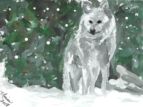White Wolf Impressionism Art Painting Animal Forest Snow Woods Wildflife Art Print featuring the painting White Wolf Impressionism by Monica Resinger