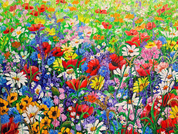 Wild Flowers Art Print featuring the painting Wild Flower Meadow by Karin Dawn Kelshall- Best
