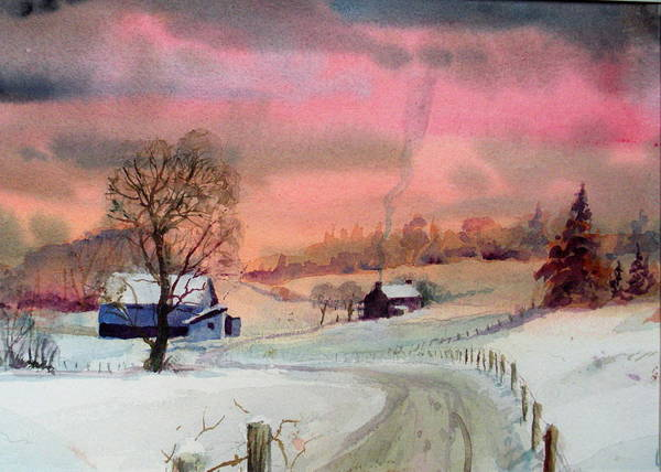 Colorful Sky Art Print featuring the painting Winter Sunrise by Faye Ziegler