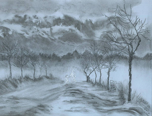 Charcoal Art Print featuring the drawing Winter with My Lover by Laura Gabel