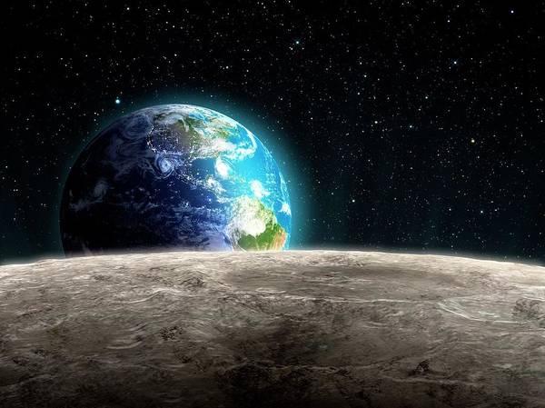 Shadow Art Print featuring the digital art Earthrise From The Moon, Artwork by Andrzej Wojcicki
