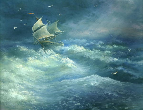 Curve Art Print featuring the digital art Heavy Gale by Pobytov
