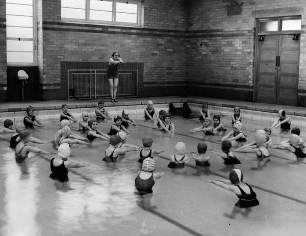 Crowd Art Print featuring the photograph Swimming Lesson by Fox Photos