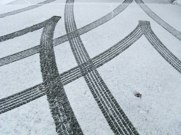 Black Color Art Print featuring the photograph Tire Tracks In Snow, Winter by Jerry Whaley