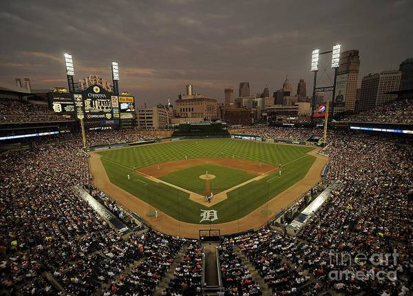 American League Baseball Art Print featuring the photograph Cleveland Indians V Detroit Tigers by Mark Cunningham