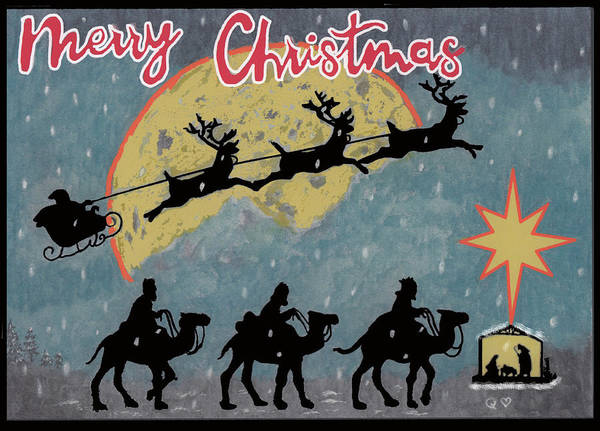 Christmas Art Print featuring the drawing Merry Christmas by Quwatha Valentine