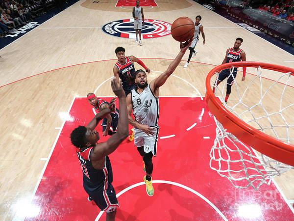 Nba Pro Basketball Art Print featuring the photograph San Antonio Spurs V Washington Wizards by Ned Dishman