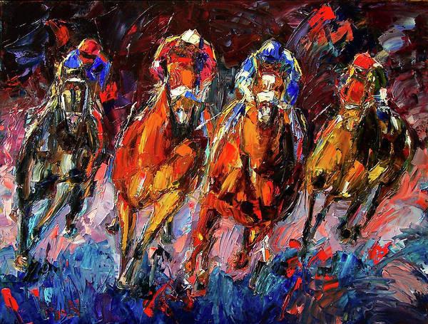 Horse Race Art Print featuring the painting Adrenalin by Debra Hurd