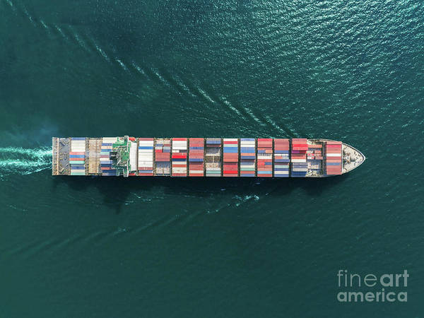 Trading Art Print featuring the photograph Aerial Top View Container Ship Full by Suriyapong Thongsawang