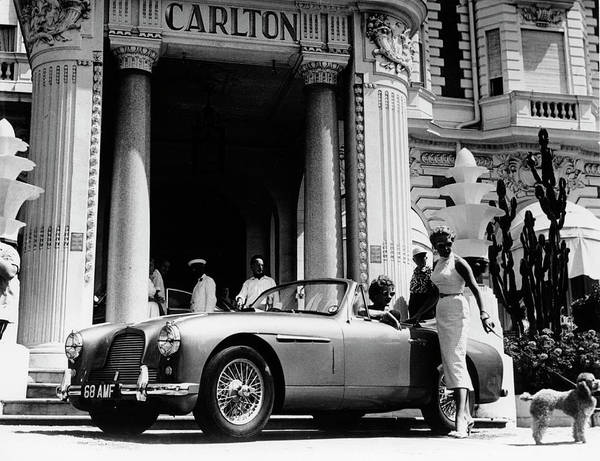 People Art Print featuring the photograph Aston Martin Db2-4 Outside The Hotel by Heritage Images