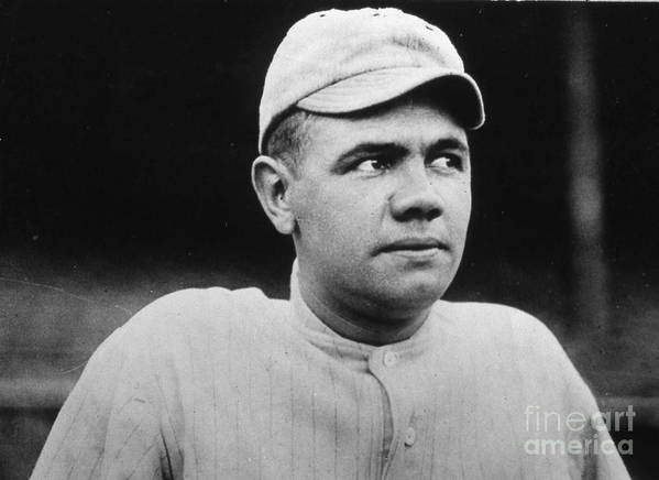 People Art Print featuring the photograph Babe Ruth Portrait Boston 1916 by Transcendental Graphics