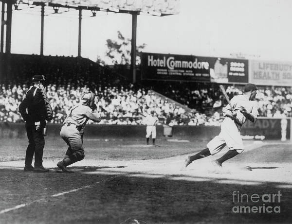 American League Baseball Art Print featuring the photograph Babe Ruth Smashing 1920 by Transcendental Graphics