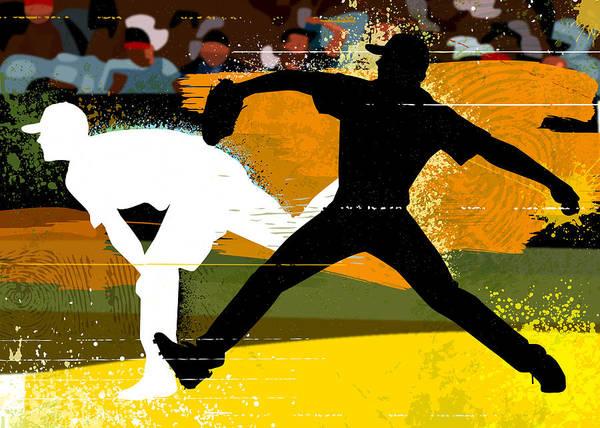 Baseball Cap Art Print featuring the digital art Baseball Pitcher Throwing Baseball by Greg Paprocki