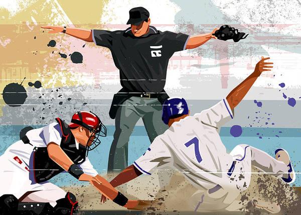 Helmet Art Print featuring the digital art Baseball Player Safe At Home Plate by Greg Paprocki