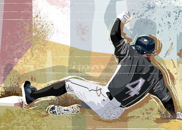 Sports Helmet Art Print featuring the digital art Baseball Player Sliding Into Base by Greg Paprocki