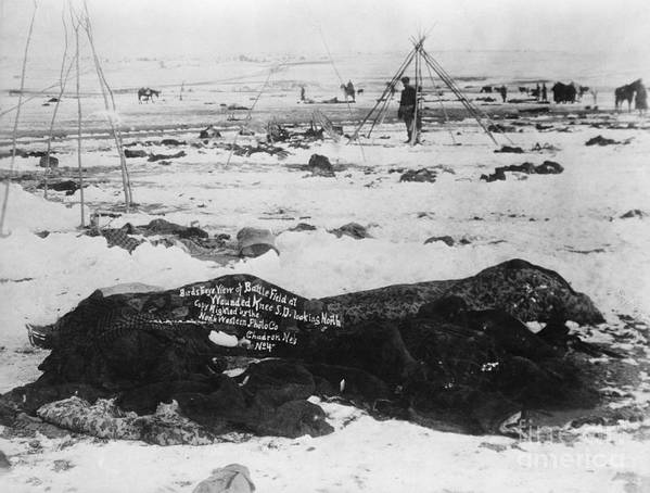 People Art Print featuring the photograph Battlefield At Wounded Knee 1890 by Bettmann
