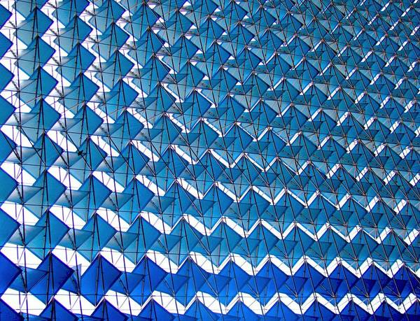New Delhi Art Print featuring the photograph Blue Abstract Structure Of Geometrical by Baxsyl
