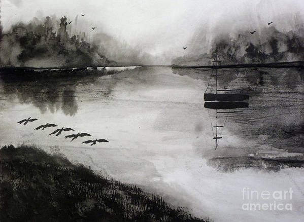 Fog Art Print featuring the painting Breakfast Flight with Sail Boat by Randy Sprout
