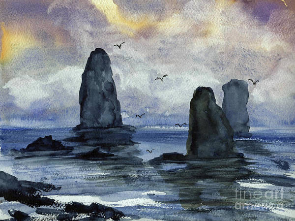 Cape Art Print featuring the painting Cape Horn Overcast by Randy Sprout