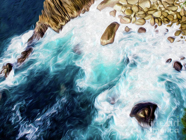 Cliffs In Alcapulco Art Print featuring the digital art Cliffs in Acapulco Mexico II by Kenneth Montgomery