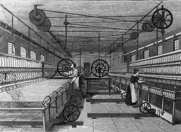 Spinning Wheel Art Print featuring the digital art Cotton Mill by Hulton Archive