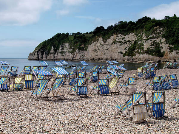 Tranquility Art Print featuring the photograph Deckchairs At Beer, Devon, Uk 2013 by Nik Taylor