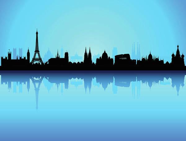 Clock Tower Art Print featuring the digital art Detailed Europe Skyline Each Building by Leontura
