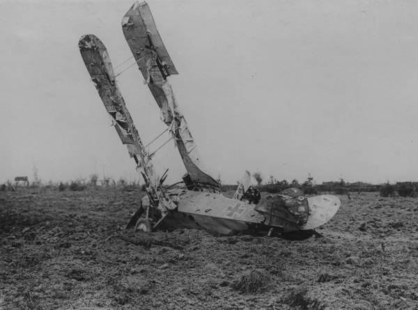 Military Airplane Art Print featuring the photograph Downed Fokker by Hulton Archive