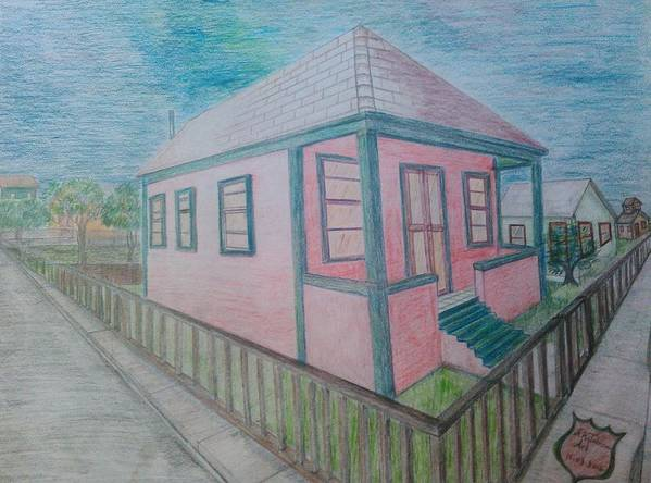 Drawing By Andrew Johnson Art Print featuring the drawing Dream Cottage by Andrew Johnson