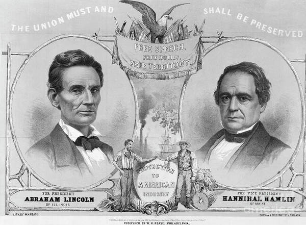 Art Art Print featuring the photograph Election Poster With Abraham Lincoln by Bettmann