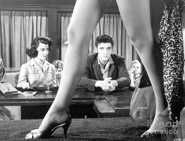 Singer Art Print featuring the photograph Elvis Presley Framed Between Womans Legs by Bettmann