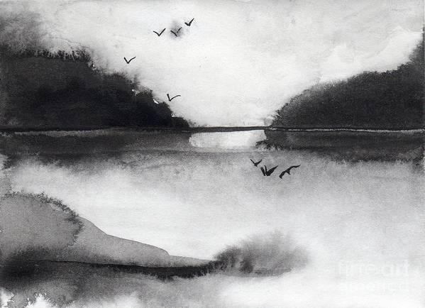 Sumi Art Print featuring the painting Evening Settles by Randy Sprout