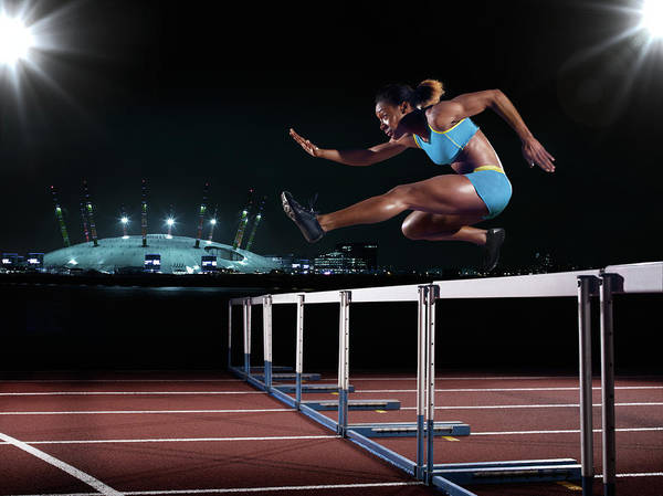 People Art Print featuring the photograph Female Hurdling In London by Mike Harrington