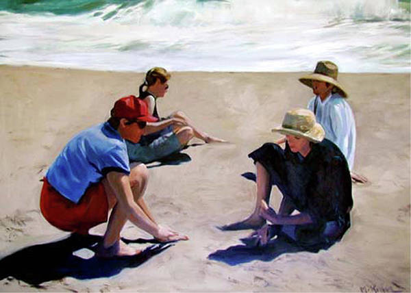 Landscape Art Print featuring the painting Four Women on the Beach by Merle Keller