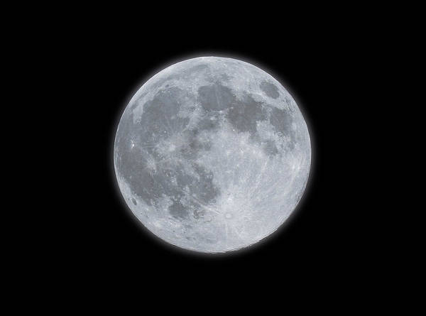 Sky Art Print featuring the photograph Full Moon With Glow by Banksphotos
