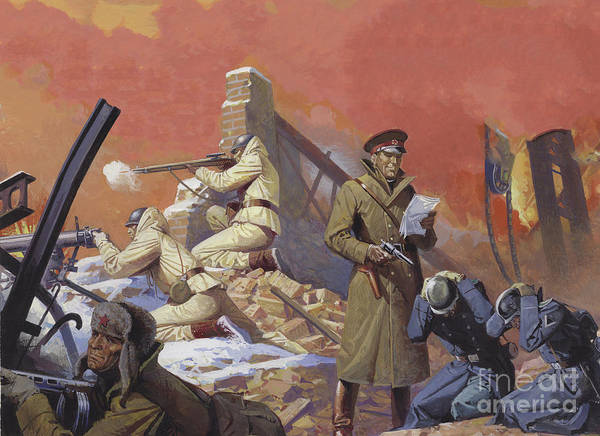 General Art Print featuring the painting General Georgi Zhukov During The Final Attack On Berlin by Severino Baraldi